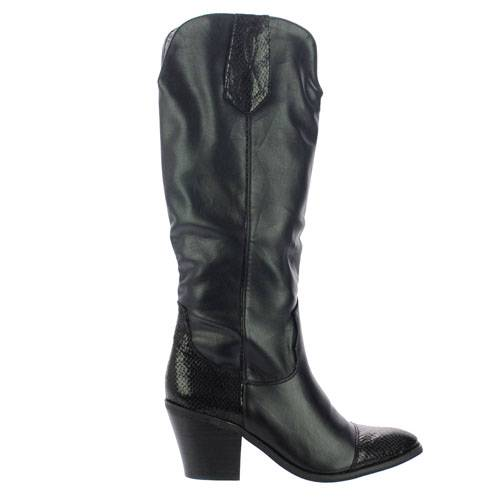 women cowboy boots black western knee high boots fake