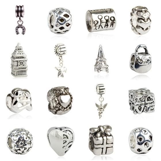 16PCs Mixed Style Silver Beads Set for European Charm Bracelet