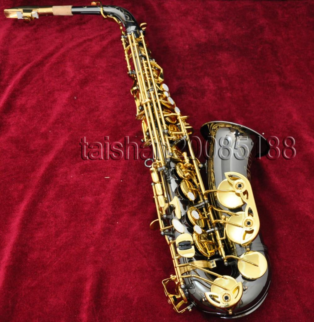 Professional ALto Saxophone Black Nickel Sax High F# With