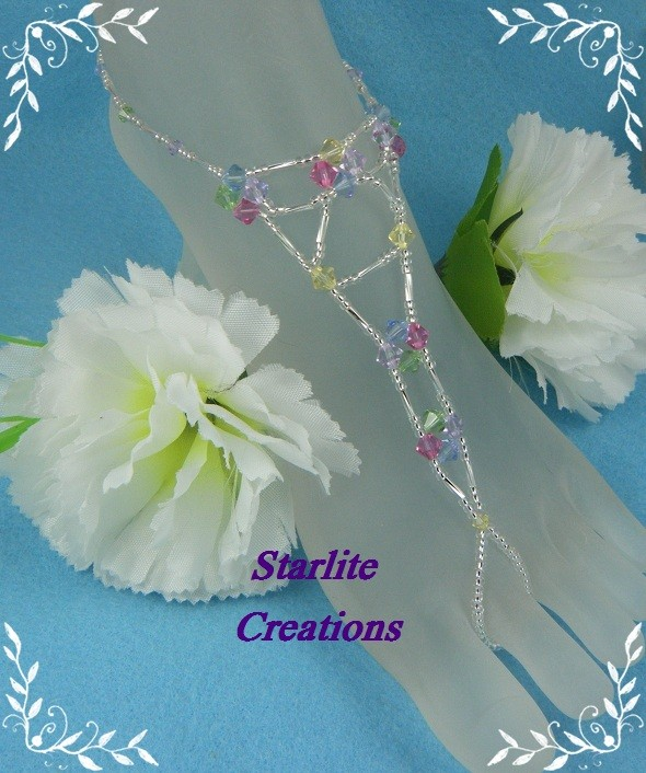 Barefoot-Sandals-Swarovski-CRYSTAL-RAINBOW-V-Style-Bridal-Foot-Jewellery