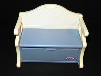 Little Tikes Dollhouse Size Blue White Toy Chest Storage Bench