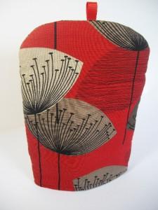 Sanderson Dandelion Clocks Vtg Retro 50s Fabric Coffee Cafetiere Cover Cosy Red Ebay