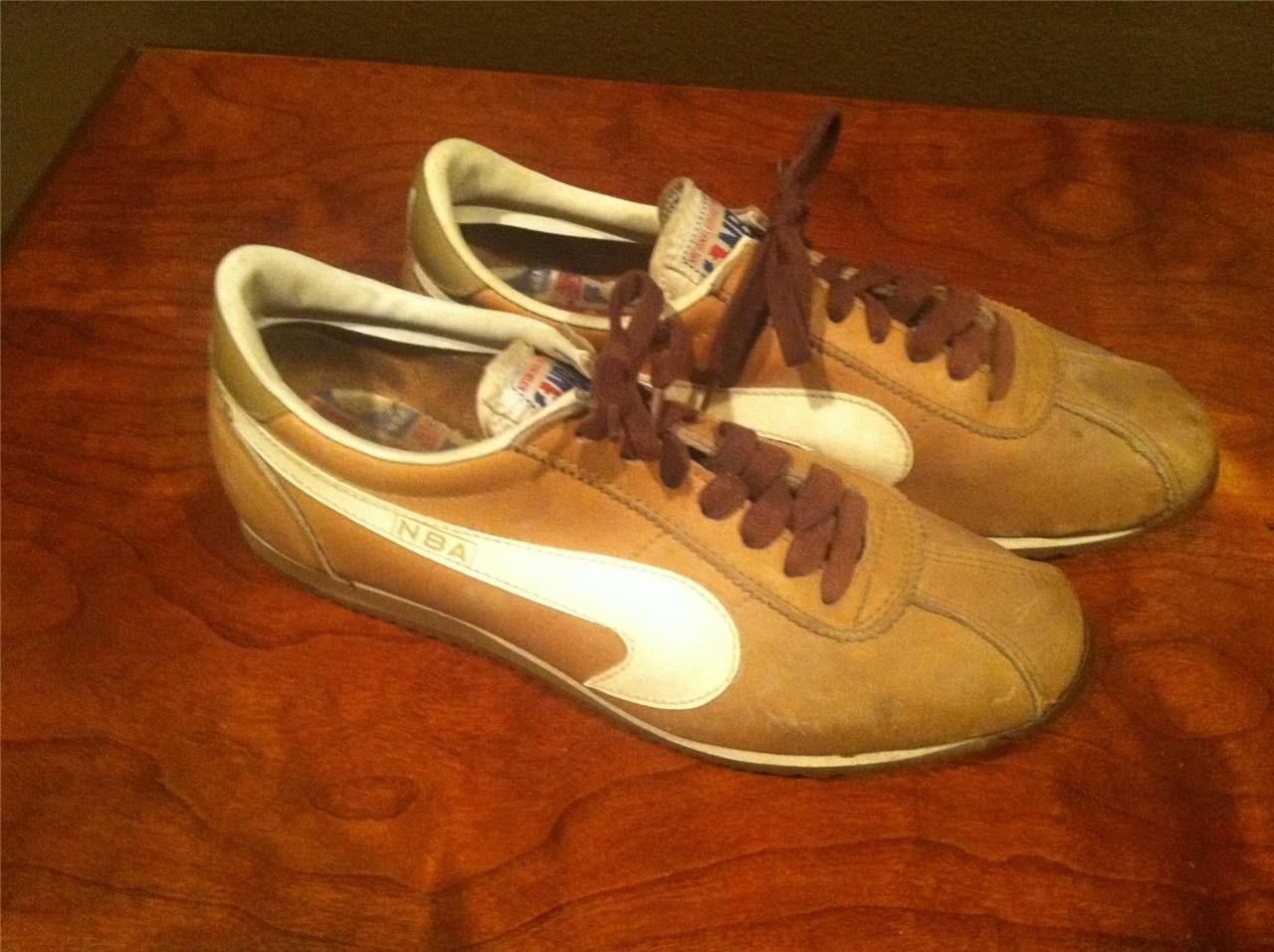 vintage nba s size 7 brown leather athletic shoes ebay