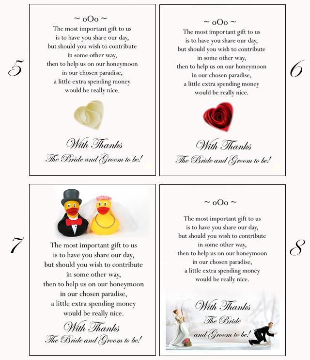 Wedding Gift Poem Living In Sin : 100 tarjetas poema dinero en efectivo o luna de miel como regalo de ...
