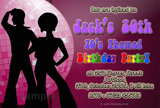 Personalised Seventies Disco 70s Party Invitations 1970