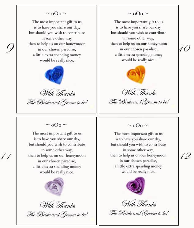 Poems For Wedding Gifts To Ask For Money For A Honeymoon : 50 Poem Cards Cash or Honeymoon Money as Wedding Gift Prints eBay