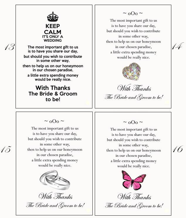 Money Not Gifts Wedding Poem : ... about 100 Poem Cards Cash or Honeymoon Money as Wedding Gift Prints