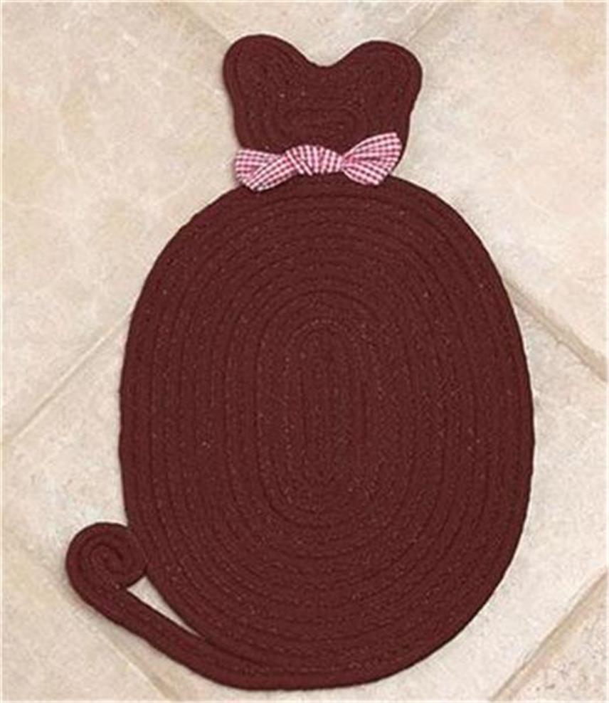 BRAIDED CAT SHAPED PET CAT RUG BED W/DECORATIVE BOW FOR