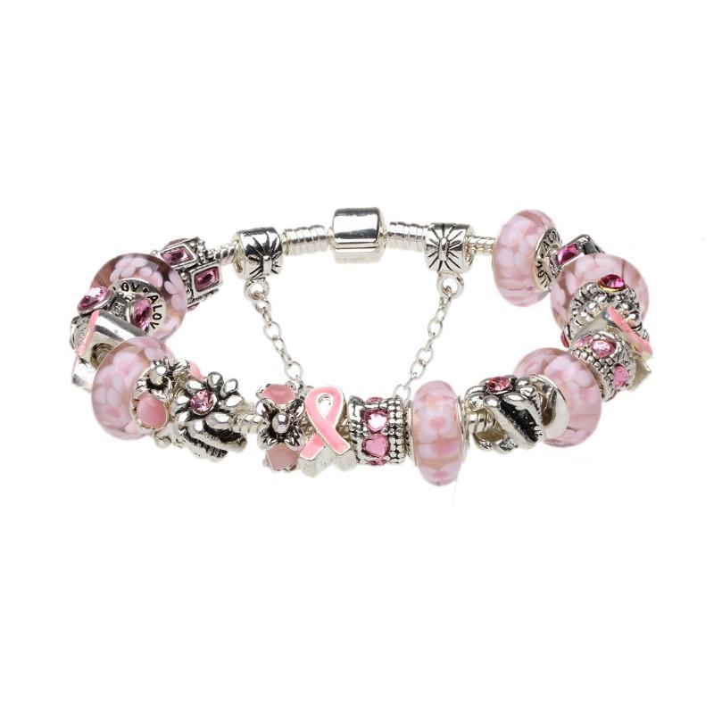 murano glass breast cancer awareness pink ribbon