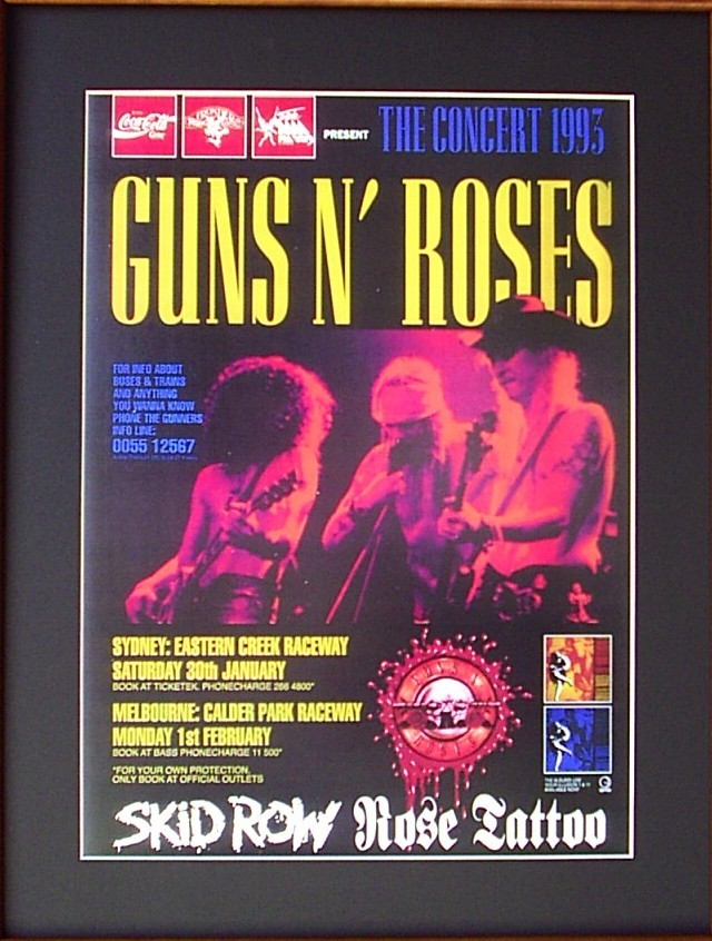 GUNS-N-ROSES-93-Australian-Tour-Poster-Ready-For-Framing