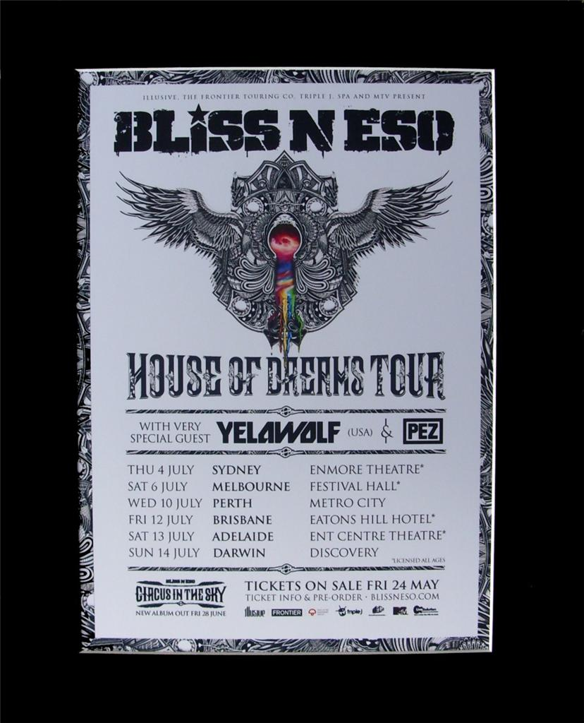 BLISS-N-ESO-2013-Australian-Tour-Poster-Matted-ready-for-Framing