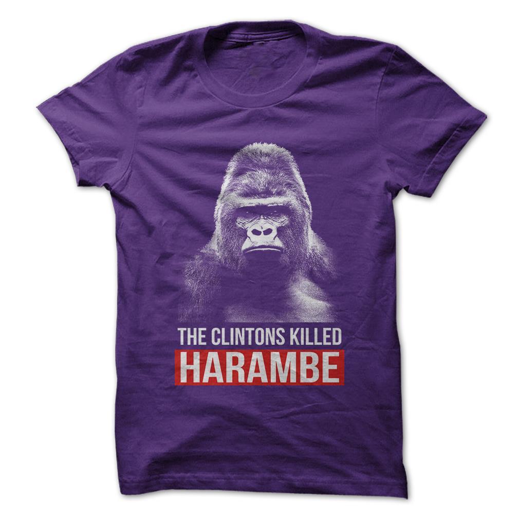 The-Clintons-Killed-Harambe-Hillary-Funny-T-Shirt-Short-Sleeve-100-Cotton-NEW