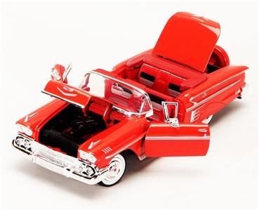1958 Chevrolet Impala Convertible Diecast Model Car   Red   Motor Max