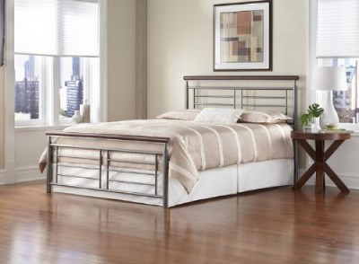 Frame on Full Size Fontane Bed W  Frame   Silver Cherry Metal   Ebay