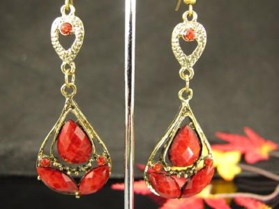 India Vintage Copper Rhinestone Bead Dangle Earrings G351