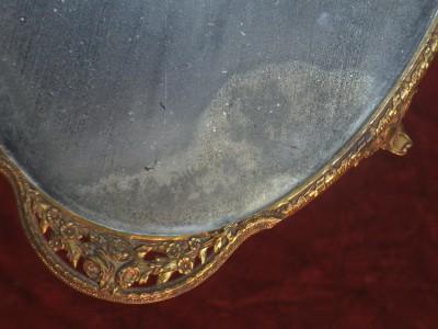 Antique Dresser Vanity Mirror Tray Perfume Plateau German Bronze