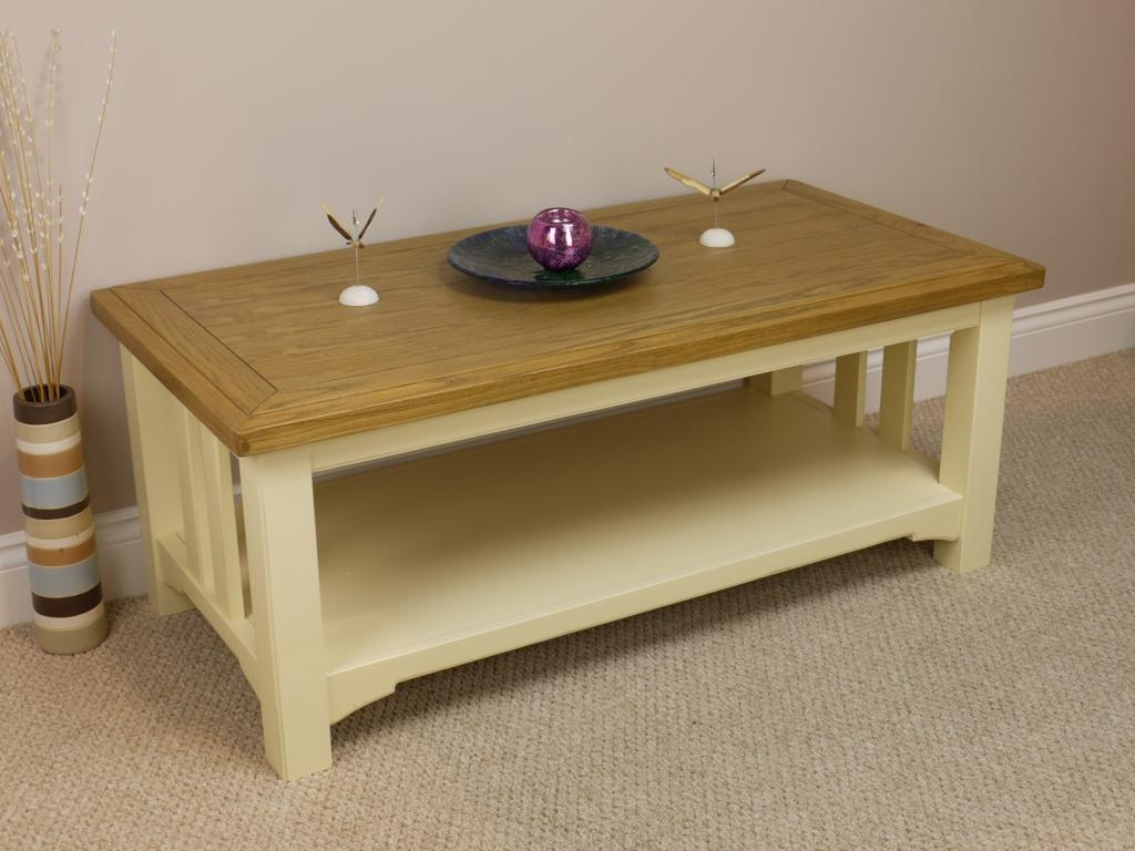 Painted Cream White Oak Coffee Lamp Table With Shelf Solid Wood New Ebay