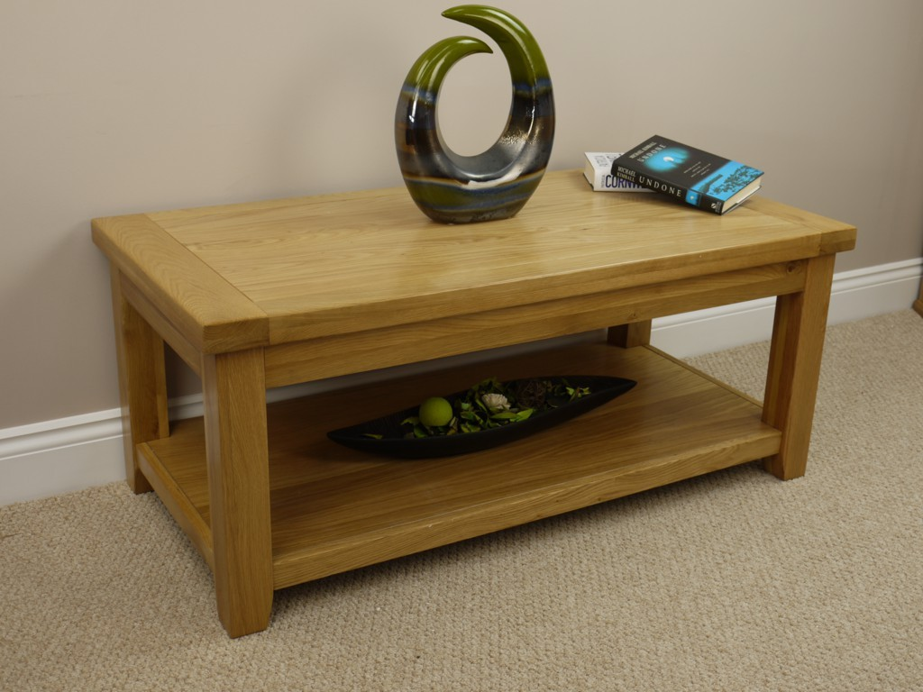 Brent large chunky oak coffee table with shelf side lamp for Large chunky coffee table