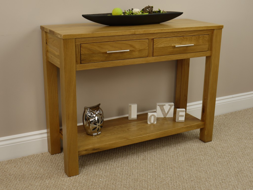 OAK HALL TABLE / SOLID 2 DRAWER SIDE CONSOLE TELEPHONE UNIT SHELF. Full resolution  img, nominally Width 1024 Height 768 pixels, img with #69481A.