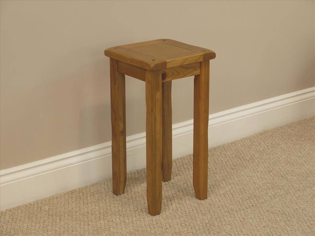 Rustic oak tall lamp table small side end table distressed for Small tall end table