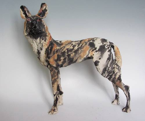 Ostinelli-Priest-African-Wild-Dog-Hyena-Dingo-studio-pottery-ceramic-sculpture