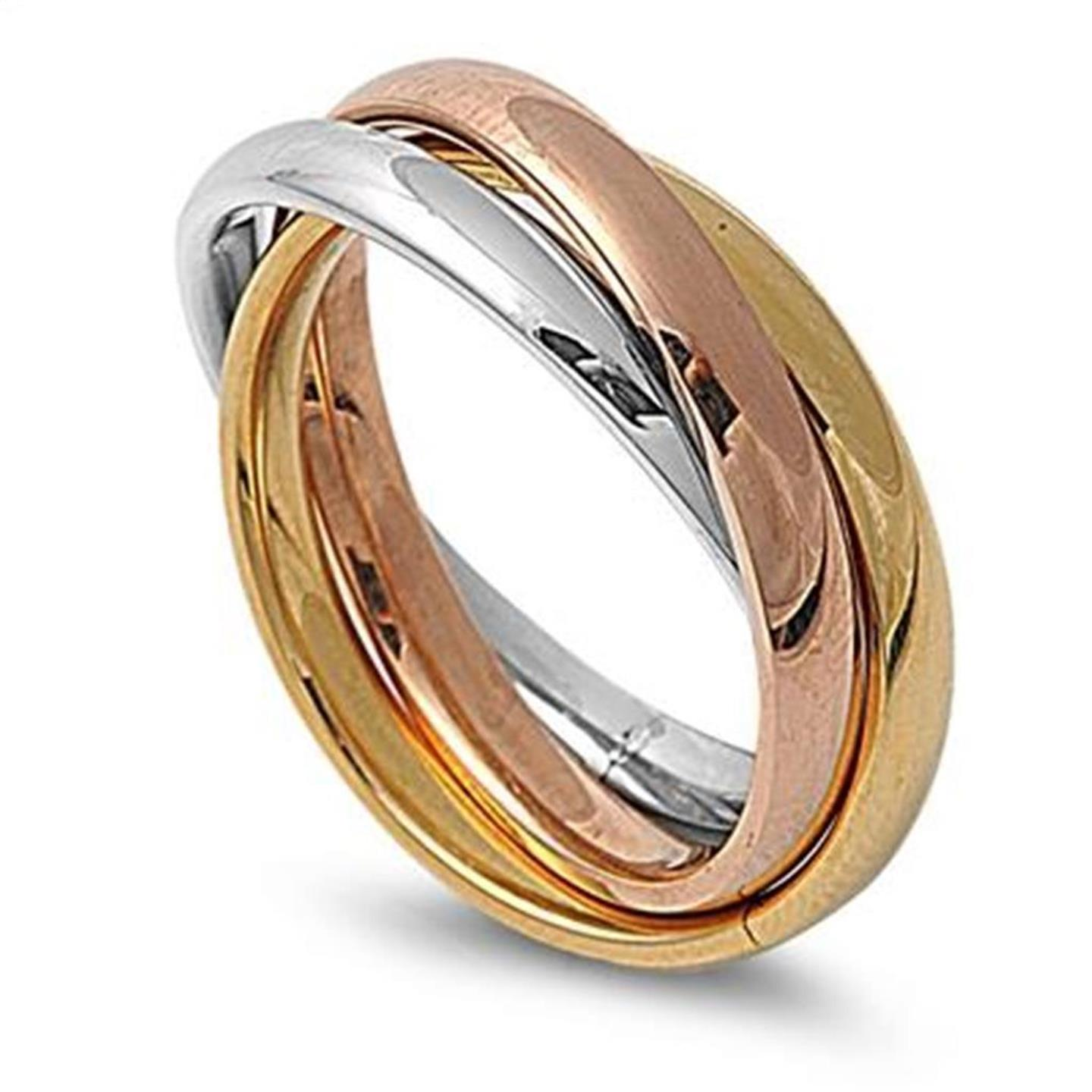 silver gold stainless steel russian wedding ring 3 band
