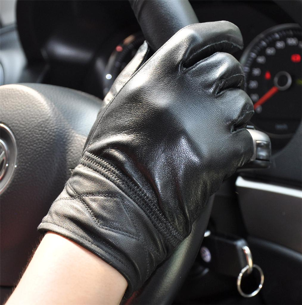 Mens gloves for driving - Men S Black Genuine Sheep Leather Winter Warm Driving Gloves M 001