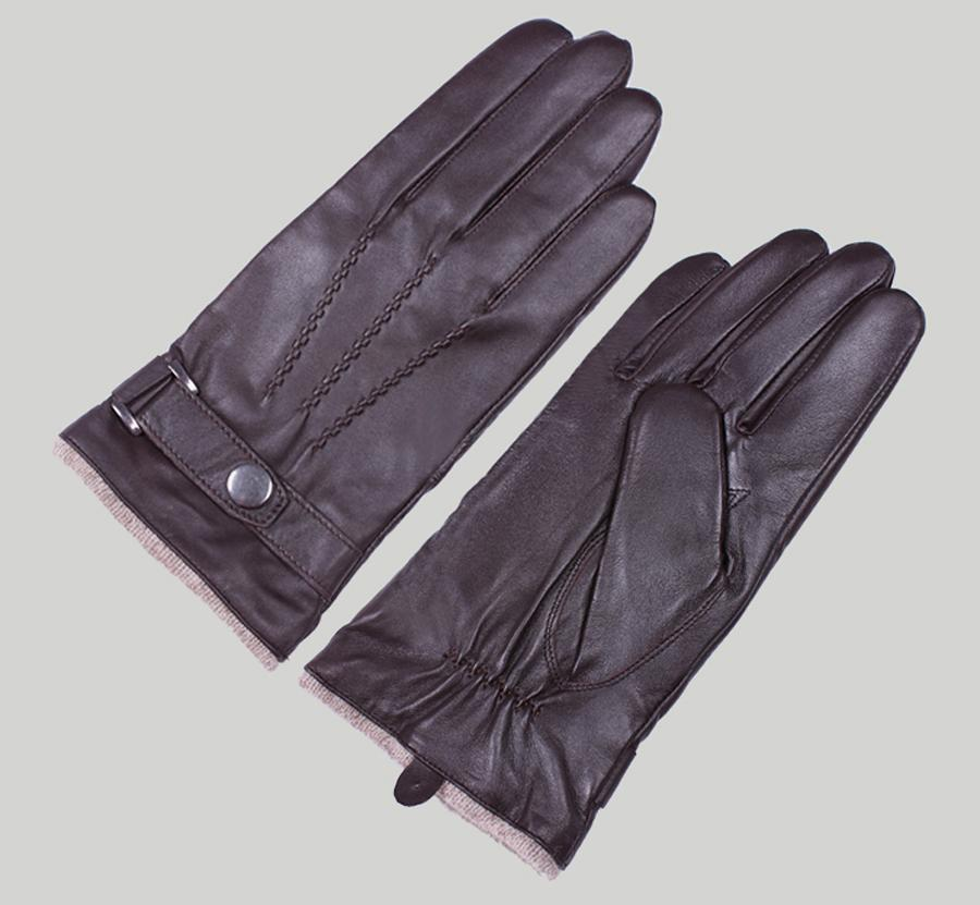 Men's Genuine Sheep Leather Wrist Driving Gloves 3 Lines Design Black Brown S-XL