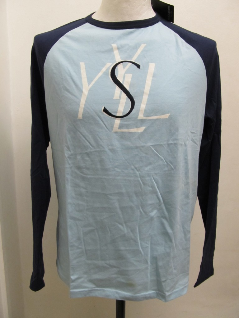 YvesSaintLaurance-YSL-PHRJ1627-Mens-Long-Sleeve-T-Shirt-Blue-BNWT-RRP-30-00
