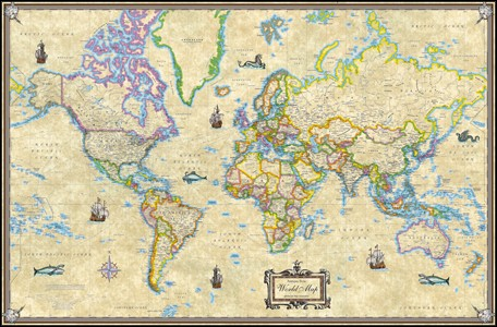 Map of the world laminated wall poster map of the world laminated wall poster antique world wall map poster gumiabroncs Image collections