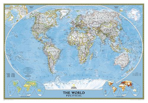 World wall map art print executive national geographic for Executive world map wall mural