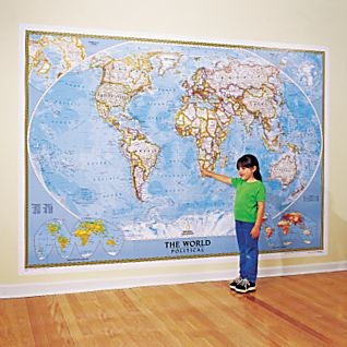World map national geographic 110x76 wall mural for Executive world map wall mural