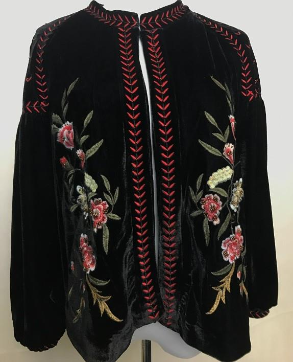 Zara sold out aw floral embroidered black velvet jacket
