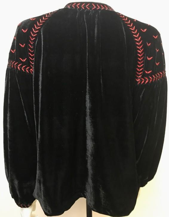 Zara beaded floral red embroidered black velvet jacket