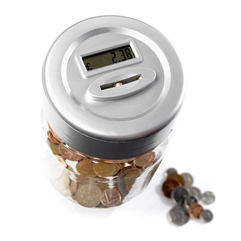 Digital money coin counting box jar tin digital piggy bank with lcd screen ebay - Coin bank that counts money ...