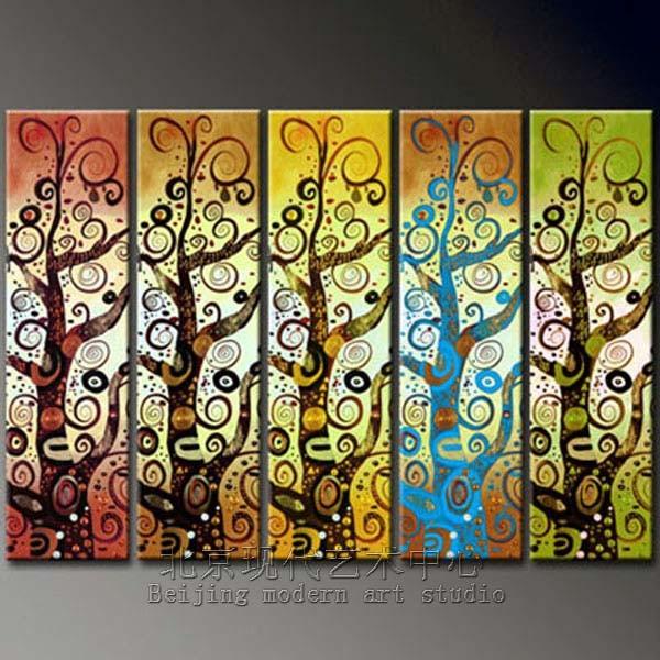 手绘油画发财树抽象 客厅无框装饰画 金钱树酒店壁画挂画lkp0018