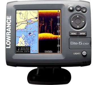 Lowrance elite 5 dsi fishfinder chartplotter gps depth for Lowrance fish finder gps