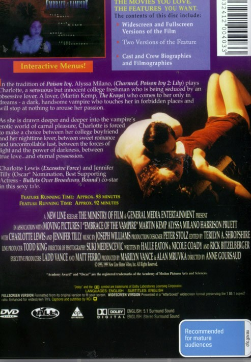 EMBRACE OF THE VAMPIRE. BRAND NEW ALL REGIONS NTSC DVD - PLAYS WORLDWIDE