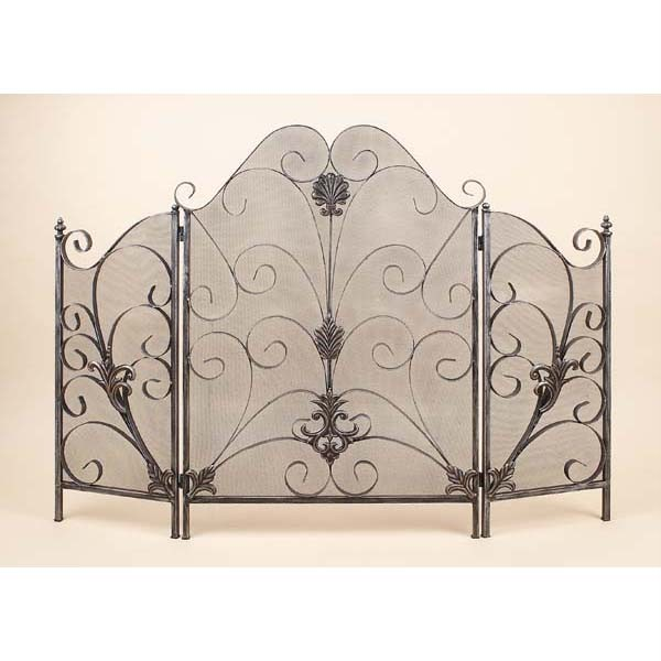 tuscan tri fold fleur de lis scroll fireplace screen ebay