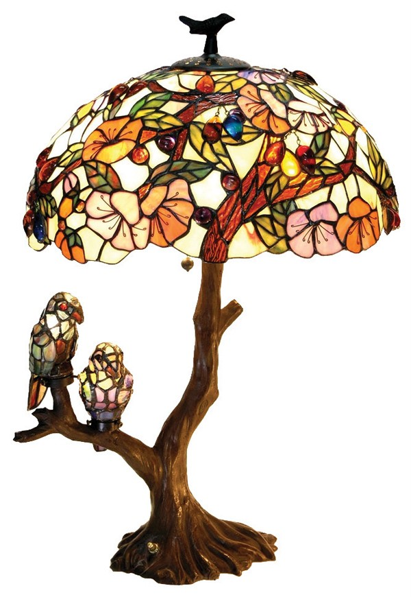 details about mission stained glass lamp w stain glass light up base. Black Bedroom Furniture Sets. Home Design Ideas