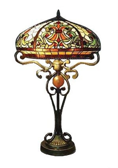 style shade stained glass lamp bold victorian stained glass shade. Black Bedroom Furniture Sets. Home Design Ideas