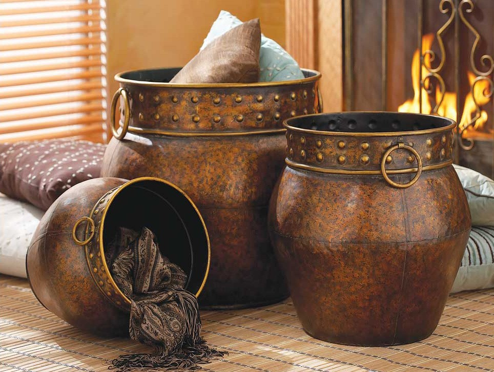 X large tuscan bronze planter vase set 3 ebay - Large decorative vases and urns ...