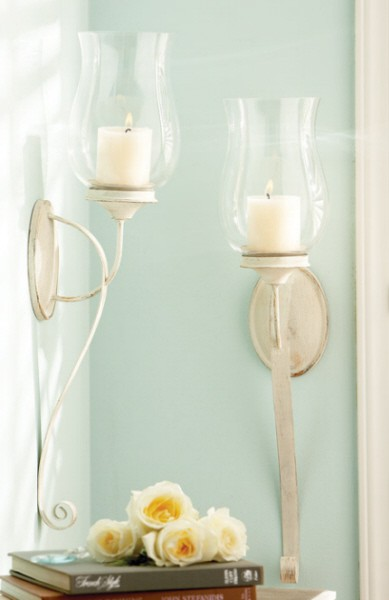 French Country Wall Sconces For Candles : SET/2 FRENCH COUNTRY VINTAGE CHIC CANDLE SCONCES eBay