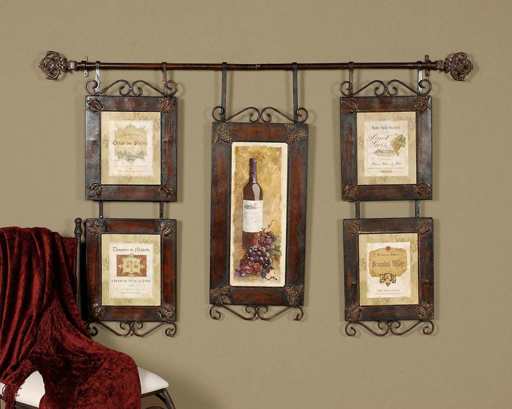 Large wine collage french country tuscan wall decor ebay for Country dining room wall art