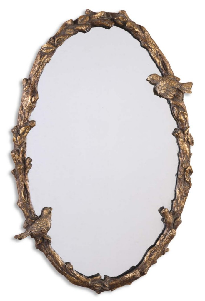 Wall Art Mirror Birds : Oval mirror w branch birds frame exquisite