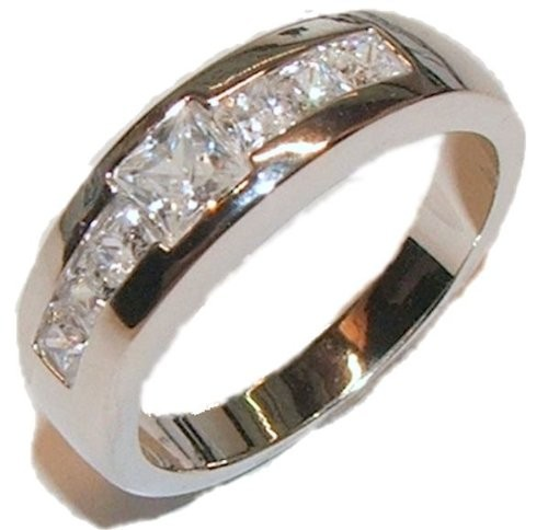 s rhodium plated cz wedding band engagement ring ebay