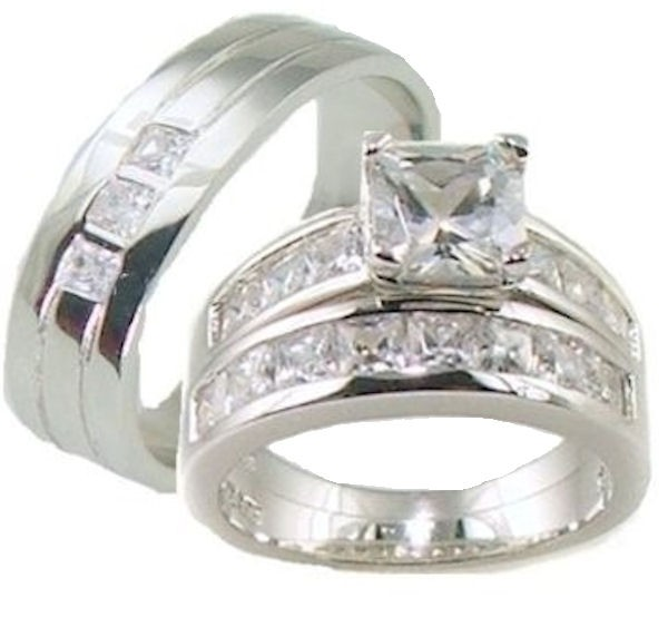 his her 3 piece aaa quality cz wedding ring set 925 With quality cz wedding ring sets