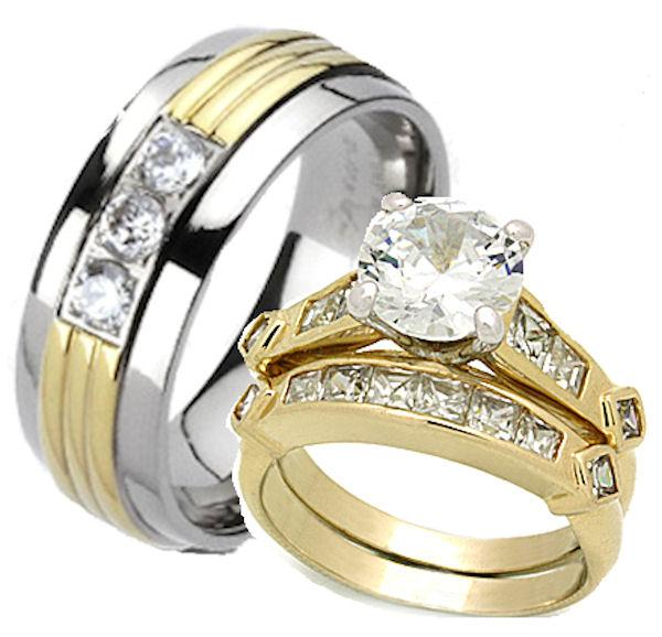 His Hers 3 Piece Wedding Ring Set Yellow Gold Overlay Titanium