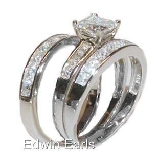3ct Princess Cut Cz Engagement Wedding Ring Set Sterling Silver 3 Piece Set