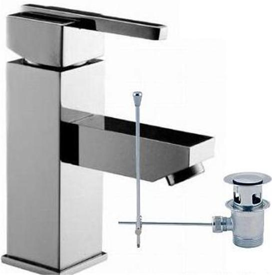 Chrome Monobloc Basin Mixer Tap With Basin Waste